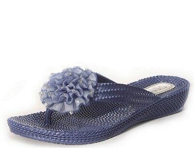 Ladies Flat Wedge Diamante Flower Flip Flops Toe Post  Beach Sandals Pool Ella