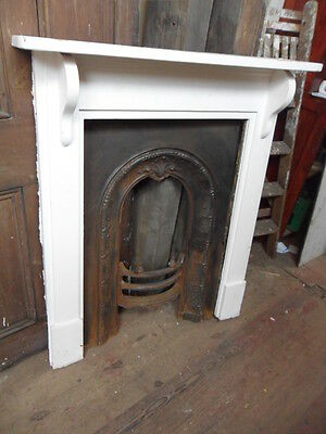 antique small fireplace fire surround & cast iron insert combination fireplace