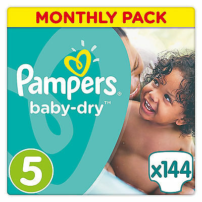 Pampers Baby-Dry Breathability Nappies Monthly Saving Pack - Size 5, Pack of 144