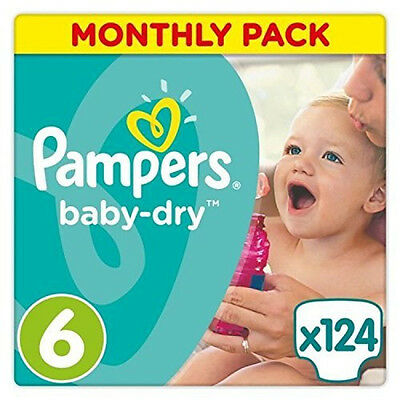 Pampers Baby-Dry Breathability Nappies Monthly Saving Pack - Size 6, Pack of 124