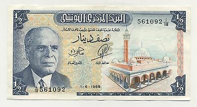 Tunisia 1/2 Dinar 1-6-1965 Pick 62.a VF++ Circulated Banknote