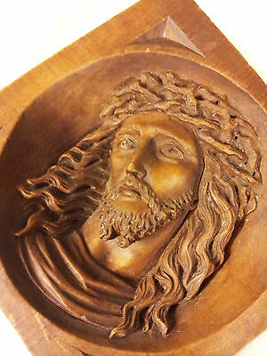 Deeply carved wooden Gothic Church style plaque of Jesus