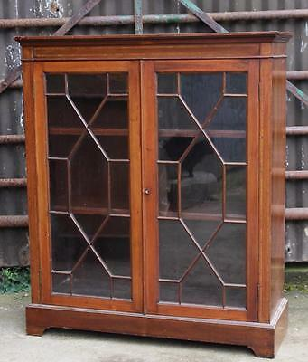 A Victorian Inlaid Mahogany Two Door Bookcase Cabinet  Astrical Glazed