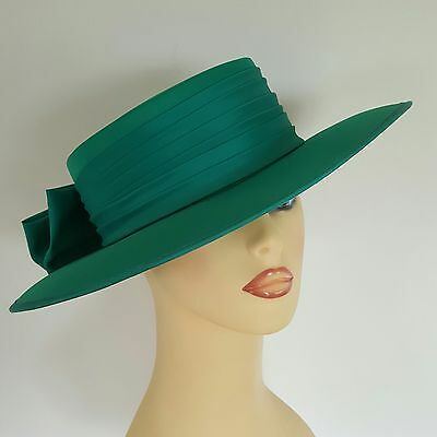 Ladies Wedding Hat Races Mother Bride Ascot Hat Emerald Green Rear Bow