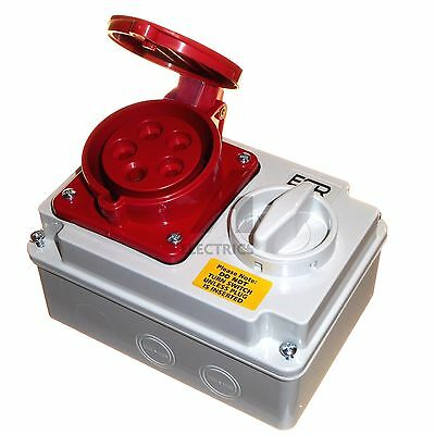 32 amp 5 pin interlock socket switch 380 - 415V weatherproof IP44 32A 3P+N+E red