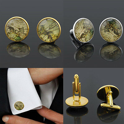 Vintage High Quality For Men Cuff Link Sleeve Button Cufflinks World Map