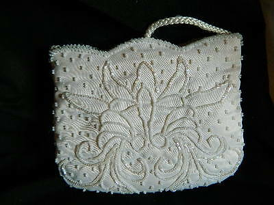 Handmade Beaded Purse clutch handbag white wedding