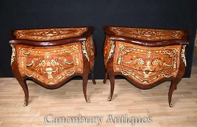 Pair Louis XVI Bombe Chests of Drawers Commodes Inlay Bedsides Nightstands