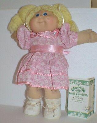 **Cute Vintage Cabbage Patch Doll in Pink and White Dress w/Birth Certificate**