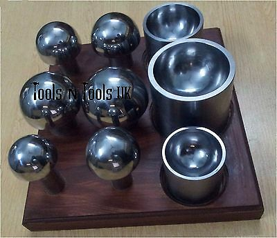Cupola Punch & Die Set 6 punches with 3 Double Sided Matching Die & Wood Stand