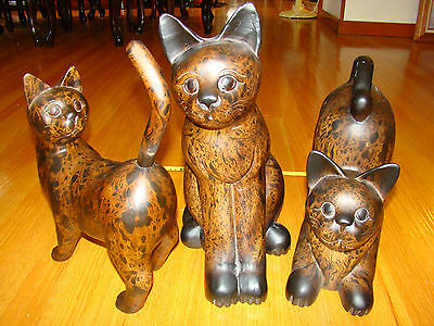 3 Large VINTAGE Hand Carved Wooden Cats Statue Figurine @ single piece of wood