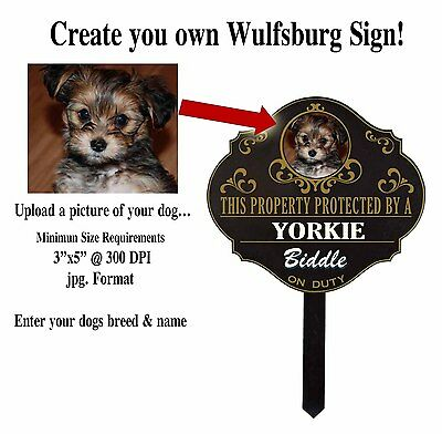 "Personalized ""Protected by"" Your Photo Entered Custom Dog Name Sign House Yard"