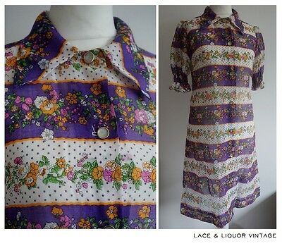 GREAT vtg 60s MOD GIRLS PURPLE ORANGE FLORAL RETRO DAGGER COLLAR DRESS 10 11 YRS