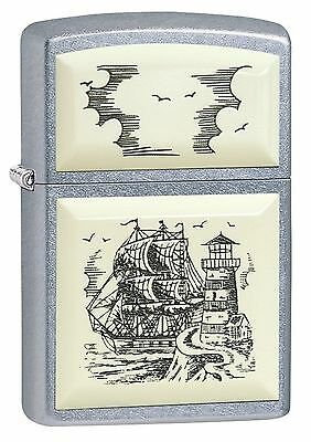 Zippo Windproof Scrimshaw Ship Lighter, 29397, New In Box