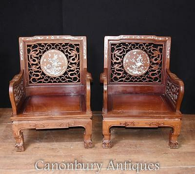 Pair Antique Chinese Hardwood Arm Chairs Mother Of Pearl Inlay Chair