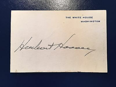 Official White House card boldly hand signed by President Herbert Hoover