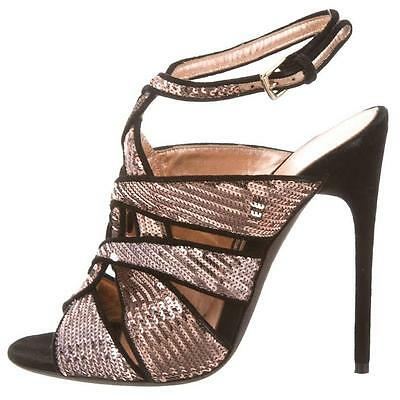 5e5e549398be  2170 New TOM FORD EVEN Sandals Nude Pink Sequin Black Suede Heels Shoes 41
