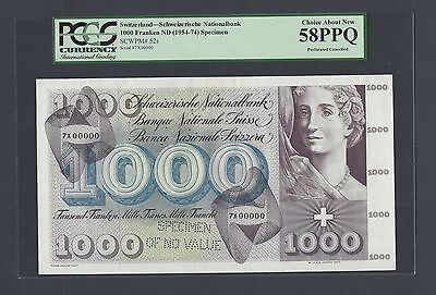 Switzerland 1000 Francs ND(1954-74) P52s Specimen Perforated About Uncirculated