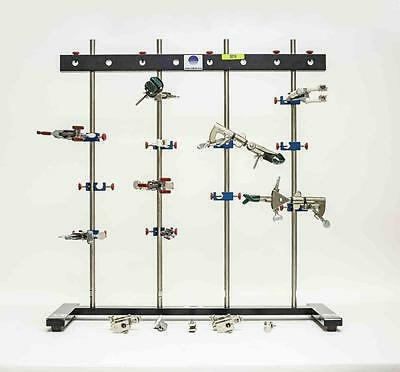 """Lot of 2 Radnoti 4 Bar Lab Stand with Stabilizer Bars and 24"""" SS Rods (3019)"""