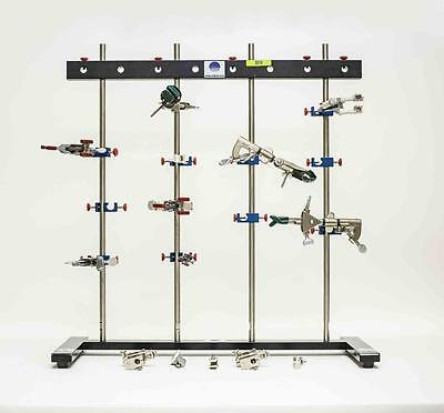 "Radnoti 4 Bar Lot of 2 Lab Stands with Stabilizer Bars and 24"" SS Rods (3019)"