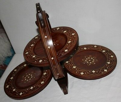 Antique  Mahogany ? Inlaid Wood Folding 3 Tier Cake Dessert Stand Plate