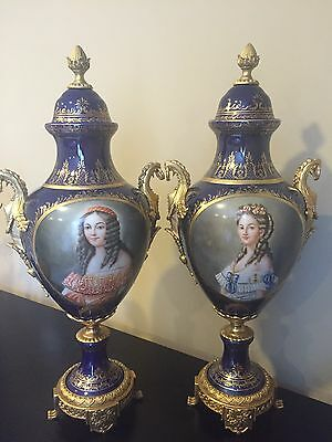 "Beautiful Sevres Style  Porcelain Covered Urns Vases  w Portraits 25"" Signed"