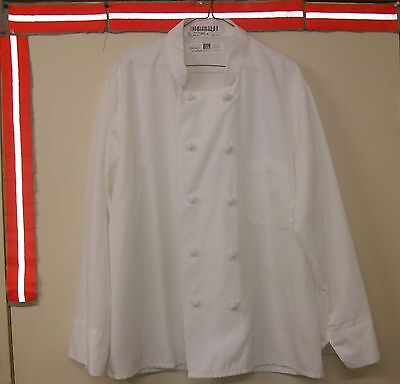 Chef Coat White Size Large Reed Long Sleeve Knots Button 100% Poly. Style $6.00