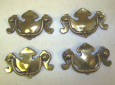 Lot of 4 Vintage Brass Chippendale Style Drawer Cabinet Dresser Pulls KBC N6967