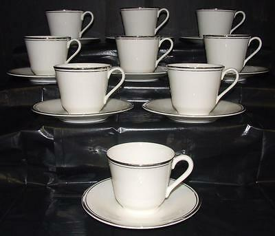 Royal Doulton Platinum Concord Porcelain Cups & Saucers
