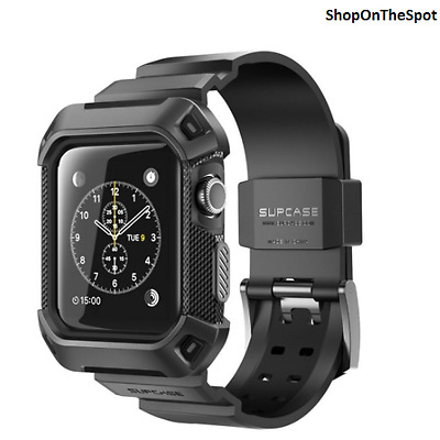 Apple Watch 2 Case 42 mm Rugged Protective Frame with Strap Bands Series 2 Black