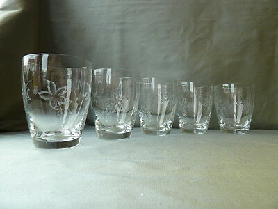 Thomas Webb vintage water or juice glasses, set of 5, signed with old round mark