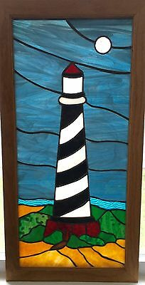"""Window Panel Vintage Lighthouse Design 14"""" W X 28"""" L Stained Glass"""