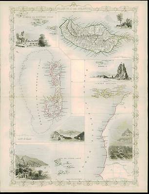 """c1850 """"ISLANDS IN THE ATLANTIC"""" by Tallis BERMUDA MADEIRA CANARY ISLANDS AZORES"""
