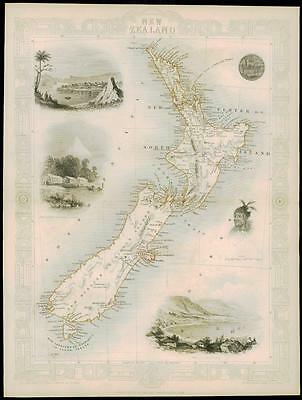 "c1850 ""NEW ZEALAND"" Original Antique Map by Tallis Wellington Auckland"