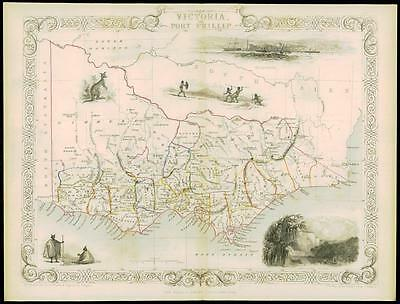 "c1850 ""VICTORIA OR PORT PHILLIP"" Original Antique Map by Tallis Australia"
