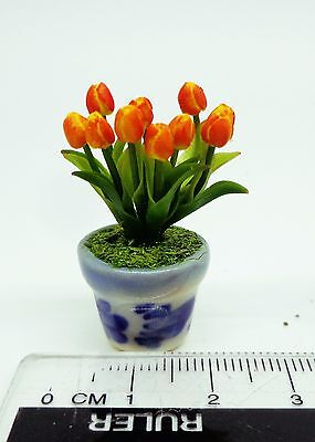 1:12 Scale Tulips Flowers In A Pot Doll house Miniatures Garden (OY)