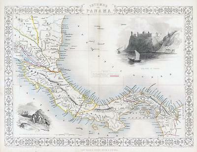 1850 Original Antique Map ISTHMUS OF PANAMA  by Tallis Fort at Chagres