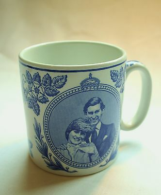 Spode Blue and White Commemorative Cup Lady Diana and Prince Charles Wedding