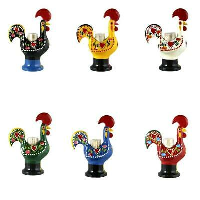 Hand Painted Traditional Portuguese Aluminum Toothpick Holder Good Luck Rooster