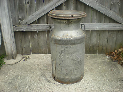 """Antique Vintage 5 Gallon Metal Milk Can with Lid- """"Terrace Park Dairy""""- Nice"""