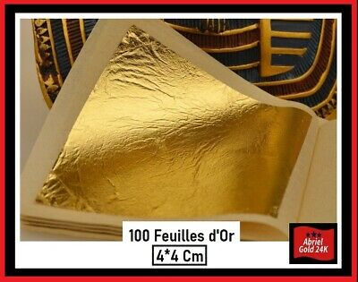 100 feuilles d' or 24 K Carats Veritable Gold Leaf paper sheets