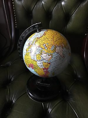 vintage Metal Globe/globus Map Of The Old World Post Ww2 Small Size
