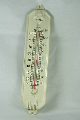 Vintage True Temp Tin Thermometer White Wall Mount Decorative not Functional