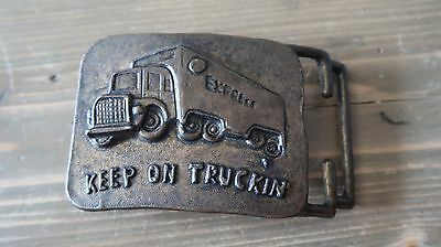 Vintage Brass Express KEEP ON TRUCKIN Semi Truck Belt Buckle