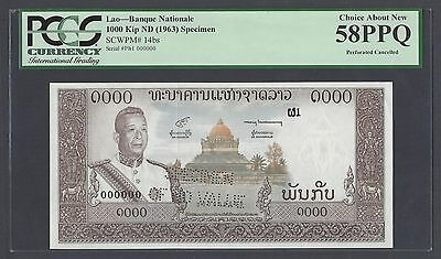 Laos 1000 Kip ND 1963 P14bs Specimen Peforated About Uncirculated