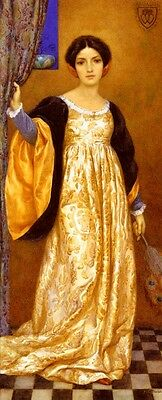 Oil painting portraits Theaker Harry George Standing Woman wearing yellow dress