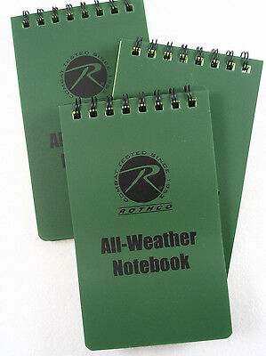 "3 Pack Rothco Police Duty All Weather Waterproof Notebook Pocket Size 3"" X 5"""