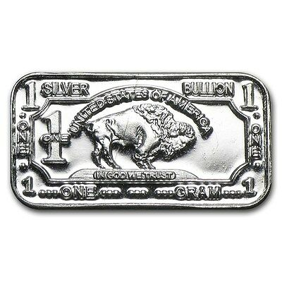 1 Gram Pure 999 Fine Solid Silver Buffalo Bullion Art Bar Ingot Gift Present Uk