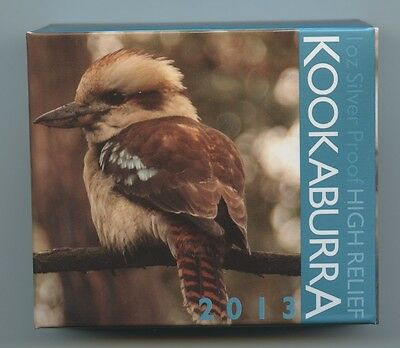 2013 Australian Silver Kookaburra HIGH RELIEF PROOF - One Ounce Coin - OGP