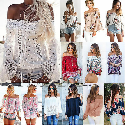 Women's Summer Floral Off Shoulder Blouse Long Sleeve Beach Casual Shirts Tops